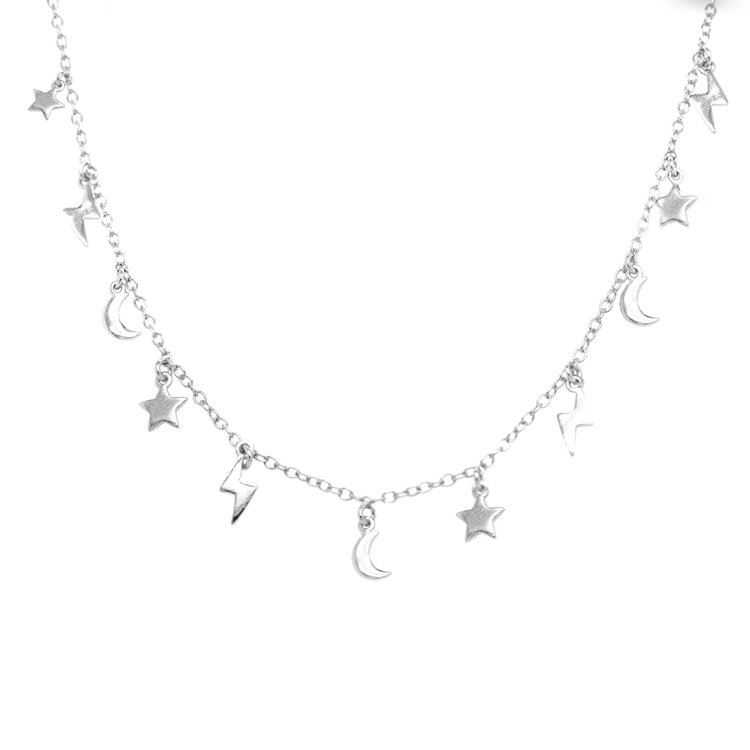 Moon, Star, Lightning Bolt Necklace