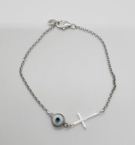 Evil Eye and Cross Bracelet