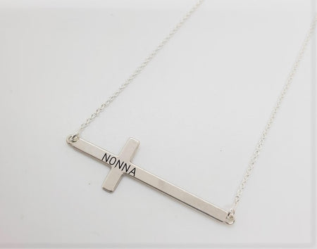 Horizontal Nonna Cross Necklace (Sterling Silver)