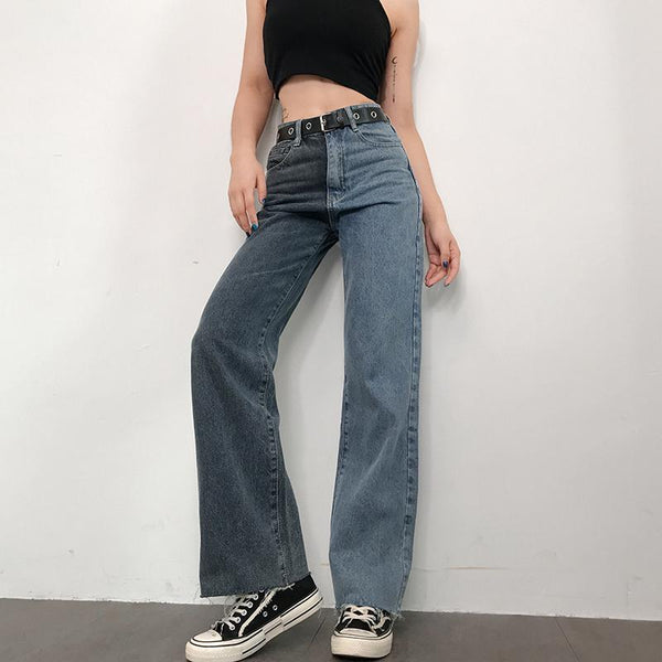 Two-Tone Contrast Jeans