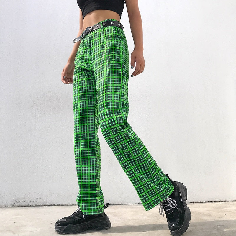 Green Checkered Pants