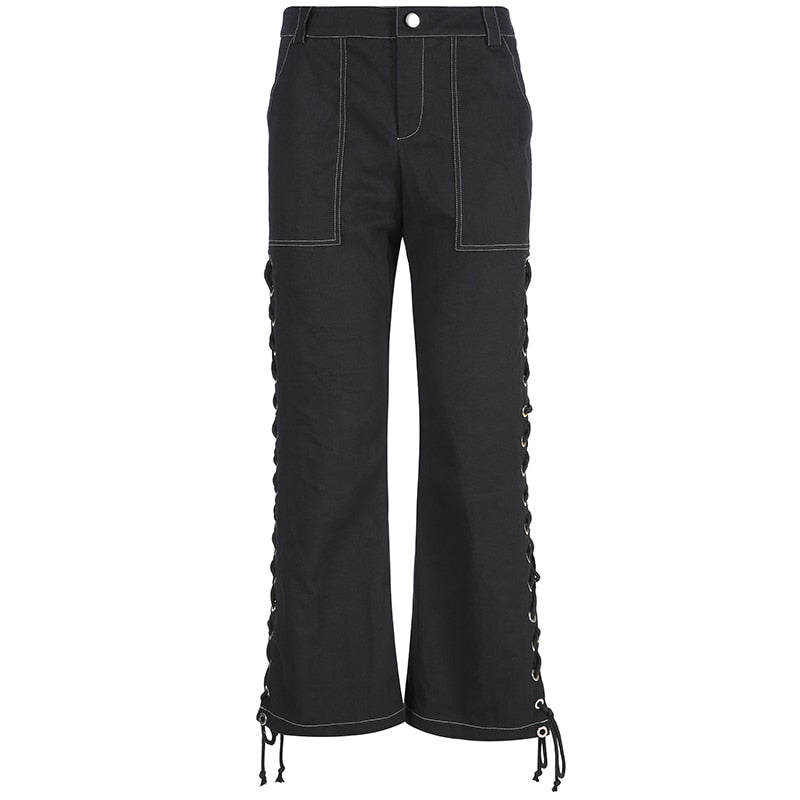 Black Flared Eyelet Pants