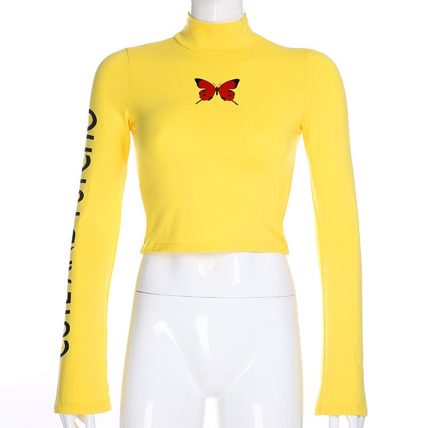Yellow butterfly turtleneck