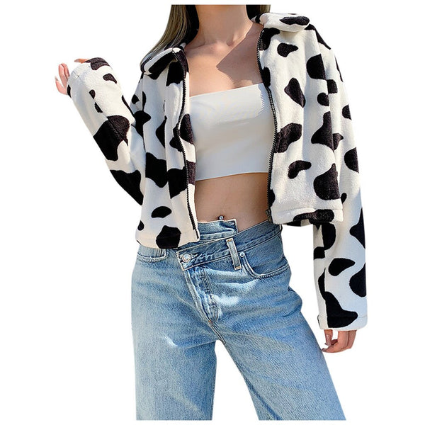 Cow Print Fleece Jacket