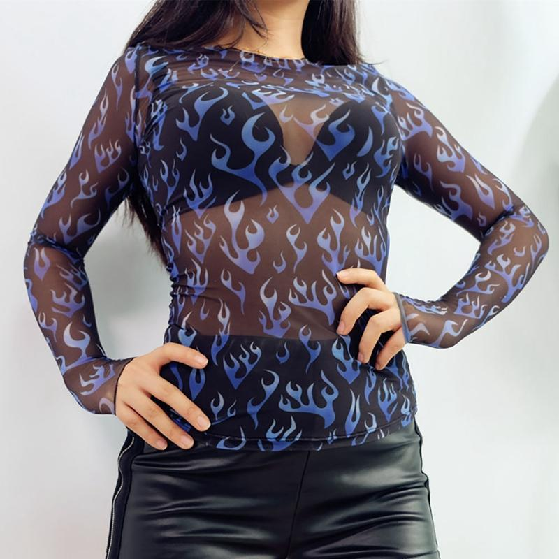 Blue flames mesh top