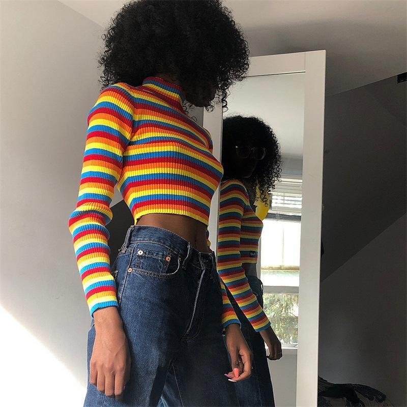 Rainbow Striped Turtleneck Jumper