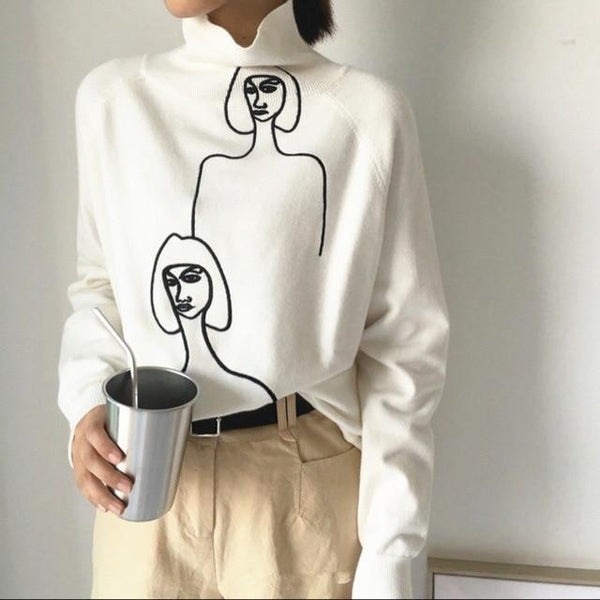 Modernist illustrated sweater