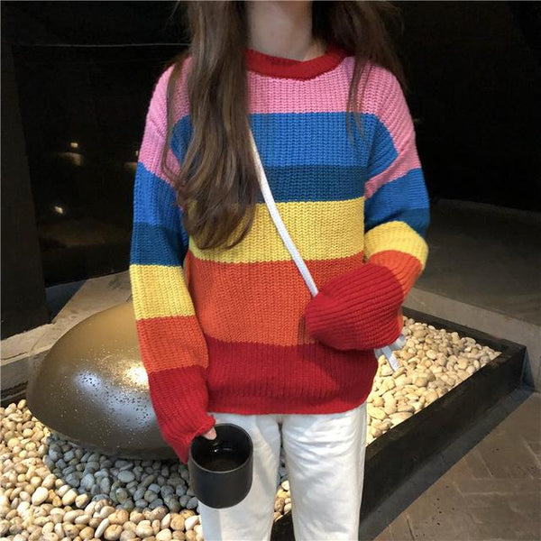 Rainbow striped chunky knit sweater