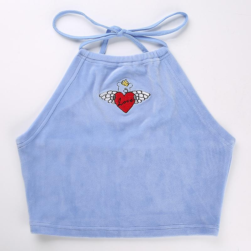 Baby Blue Halter Crop Top