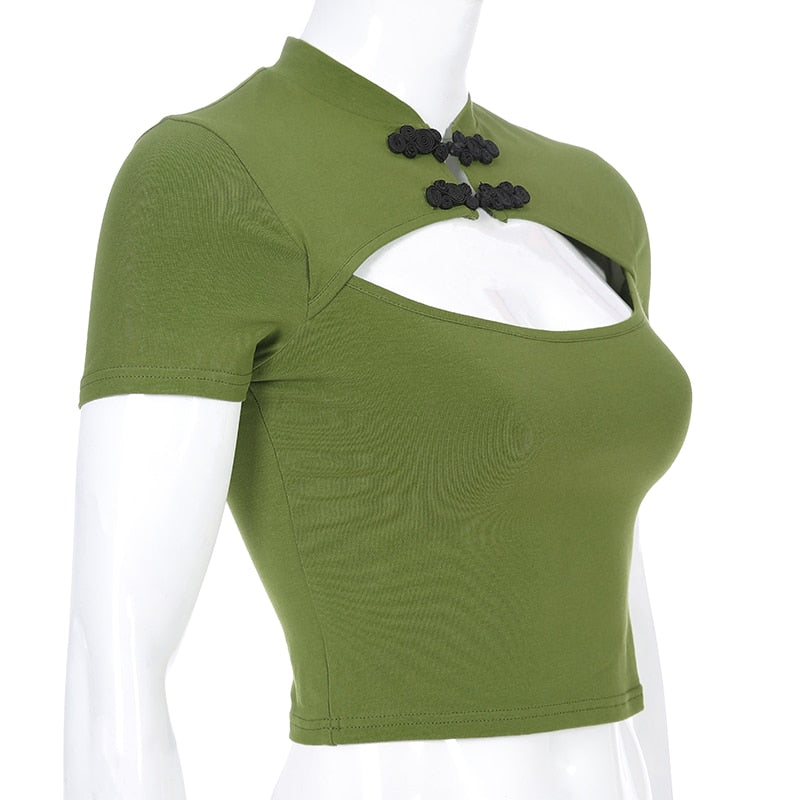 Green chinese hollow top