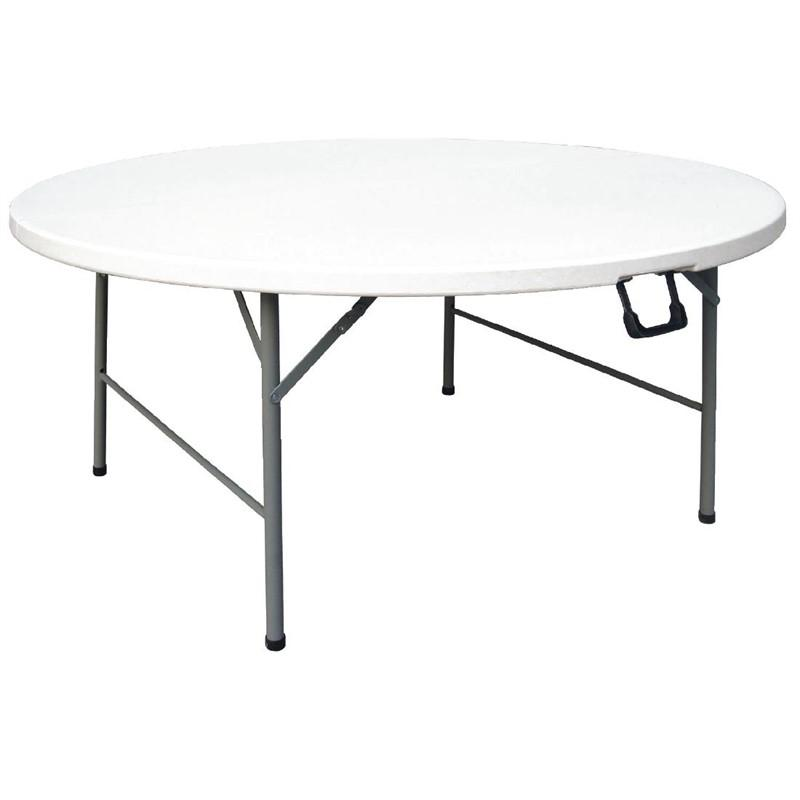 Table ronde pliable au centre Bolero blanche 1530mm