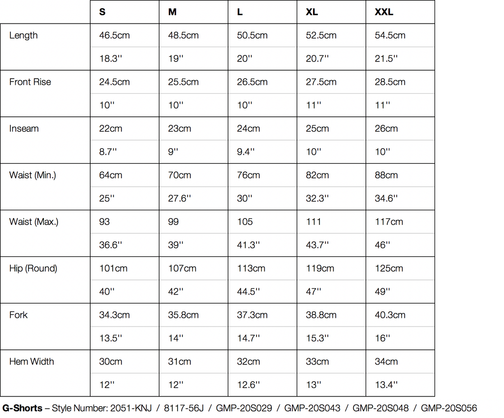 Gramicci Packable G-Shorts Size Chart