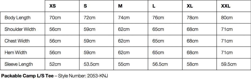 Gramicci Packable Camp Long Sleeve Tee Size Chart