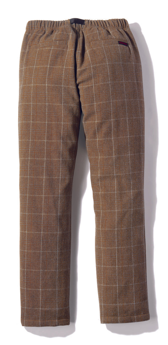 Gramicci Wool Blend NN-Pants Just Cut in Glen Check Camel Back