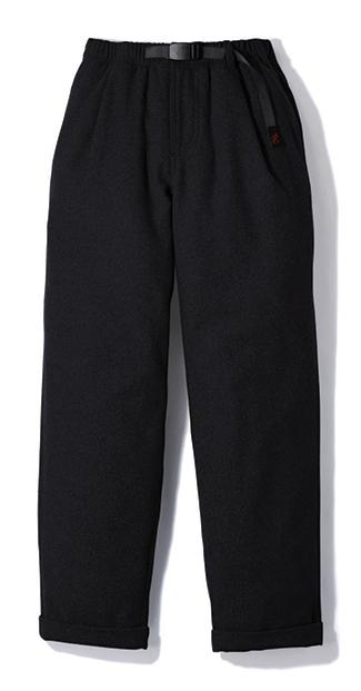 Gramicci Wool Blend Tuck Tapered Pants in Black