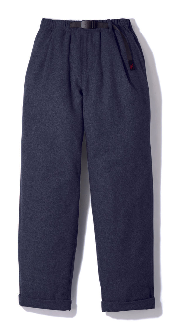 Gramicci Wool Blend Tuck Tapered Pants in Double Navy