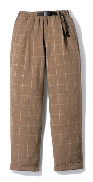 Gramicci Wool Blend Tuck Tapered Pants in Glen Check Camel