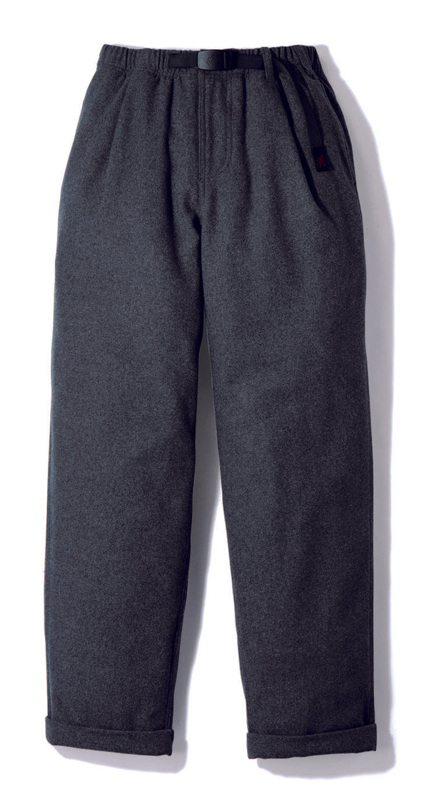 Gramicci Wool Blend Tuck Tapered Pants in Heather Charcoal