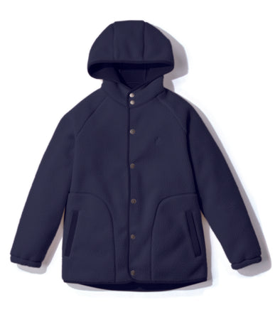 Gramicci Boa Fleece Hooded Coaches Jacket in Navy