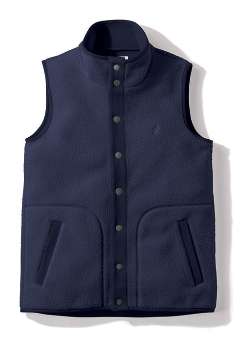 Gramicci Boa Fleece Gilet Vest in Navy (Front View)