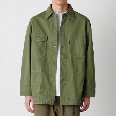 Model wearing Gramicci Cotton Twill Cover All Everyday Work Jacket (Olive)