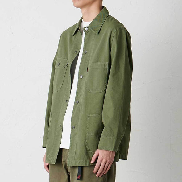 Model wearing Gramicci Cotton Twill Cover All Everyday Work Jacket (Olive) Side View