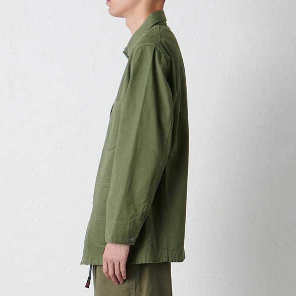 Model wearing Gramicci Cotton Twill Cover All Everyday Work Jacket (Olive) Side Profile