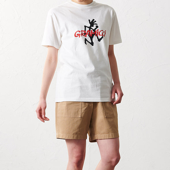 Model wearing Gramicci Logo Cotton T-Shirt in White GUT-19S086