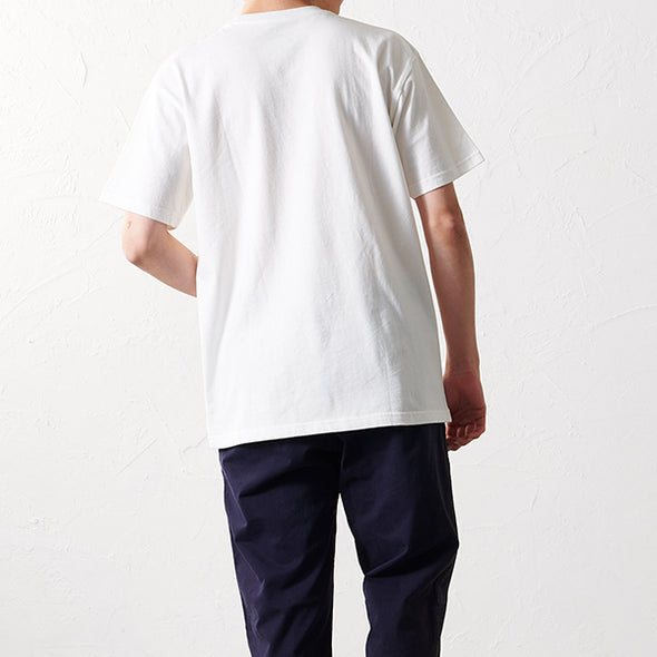 Model wearing Gramicci Logo Cotton T-Shirt in white 19S086 reverse view