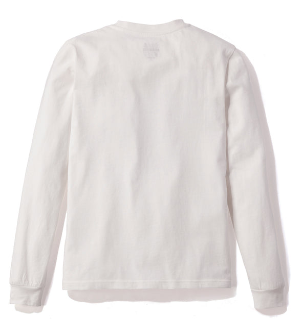Gramicci Jersey Cotton Long Sleeve Logo T-Shirt in White, Reverse Side