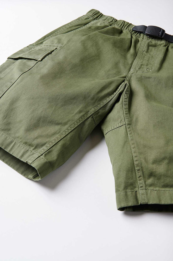 Gramicci Cotton Twill Cargo Shorts (Olive) Gussset Crotch Detail
