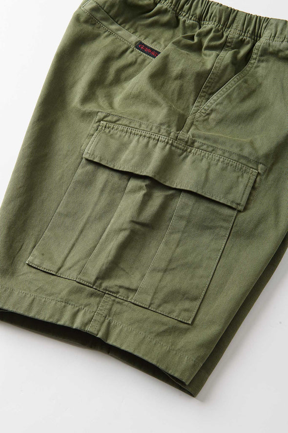 Gramicci Cotton Twill Cargo Shorts (Olive) Closed Side Pocket Detail