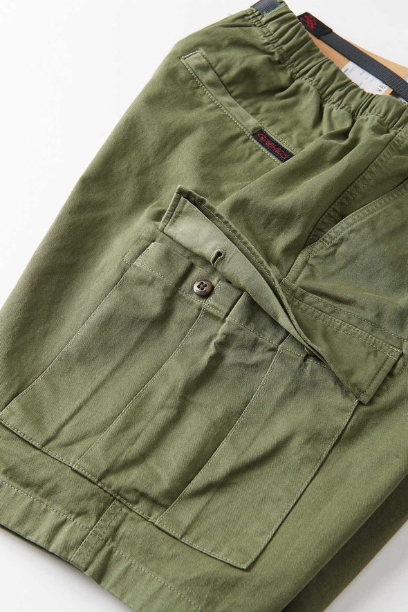 Gramicci Cotton Twill Cargo Shorts (Olive) Open Side Pocket Detail