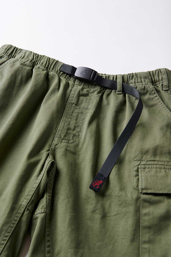 Gramicci Cotton Twill Cargo Shorts (Olive) Adjustable Belt Detail