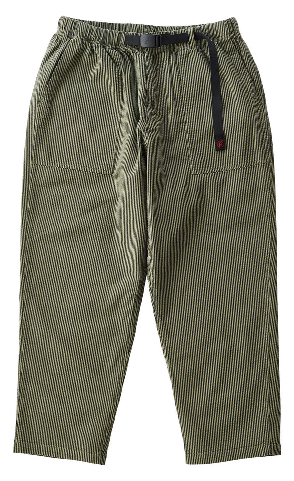 Gramicci Cotton Pinstripe Sucker Loose Tapered Pants (Olive)