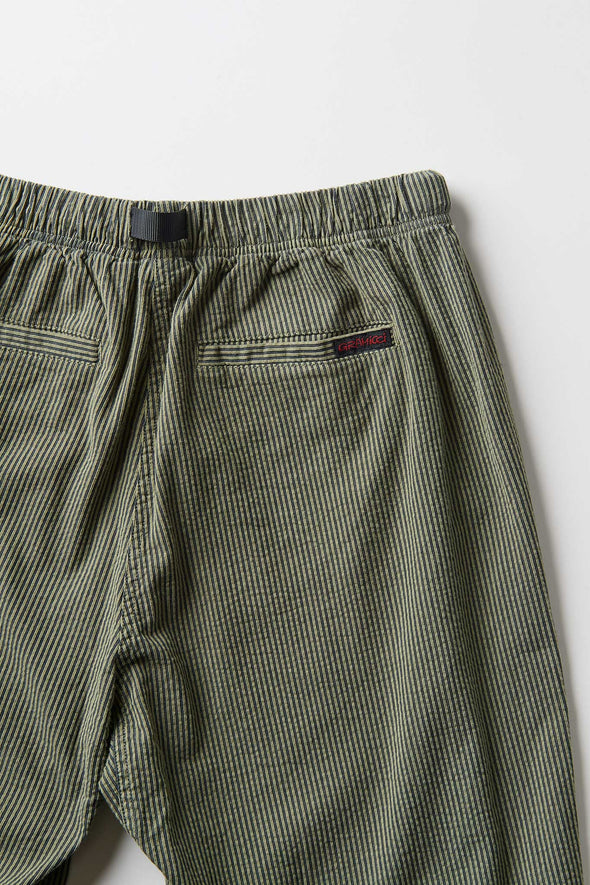 Gramicci Cotton Pinstripe Sucker Loose Tapered Pants (Olive) Rear Pocket Detail