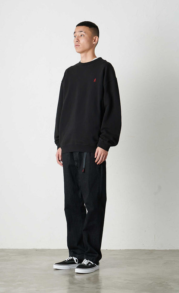 Male Model wearing Classic Cotton Gramicci Sweatshirt (Black) Side View