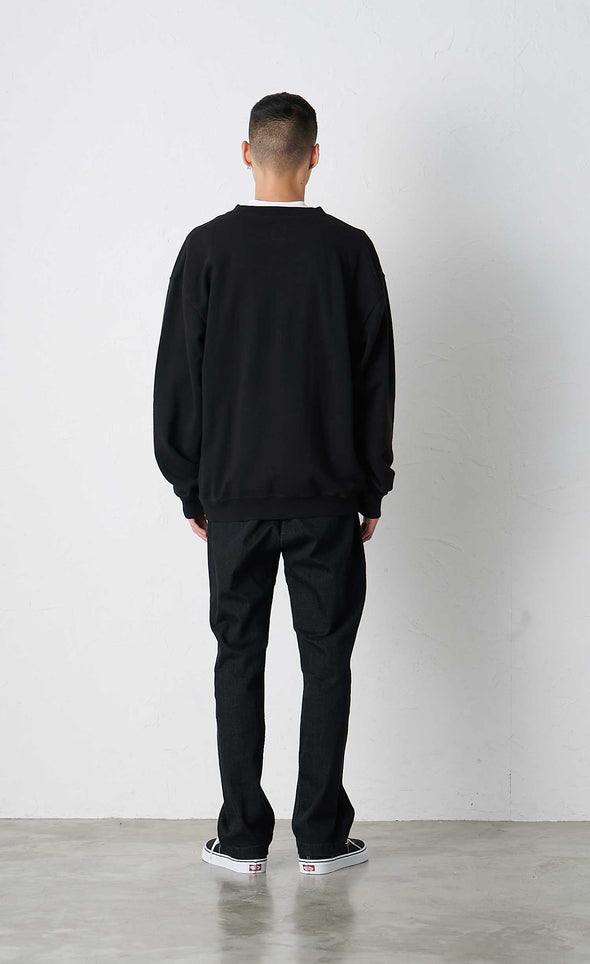 Male Model wearing Classic Cotton Gramicci Sweatshirt  (Black) Rear VIew