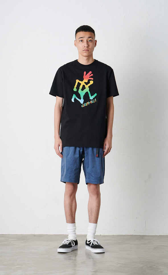Male Model wearing Gramicci Tie Dye Running Man Tee Cotton T-shirt (Black)