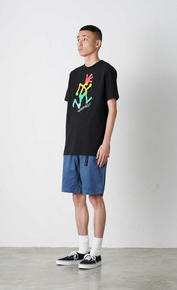 Male Model wearing Gramicci Tie Dye Running Man Tee Cotton T-shirt (Black) Side View