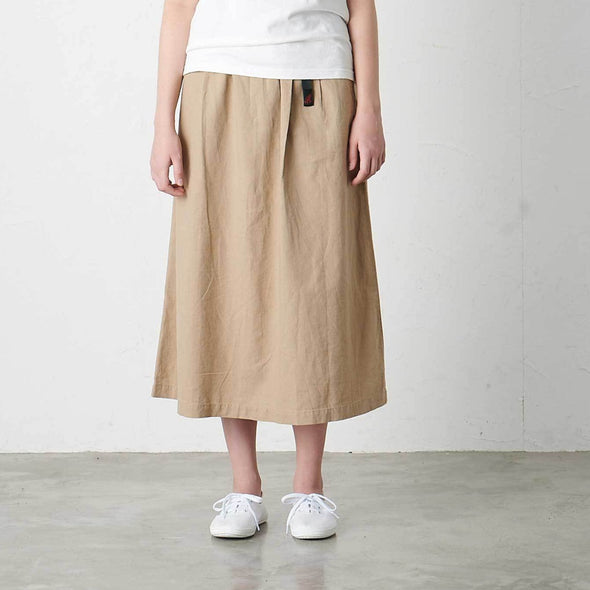 Model wearing Gramicci Linen Cotton Long Flare Skirt
