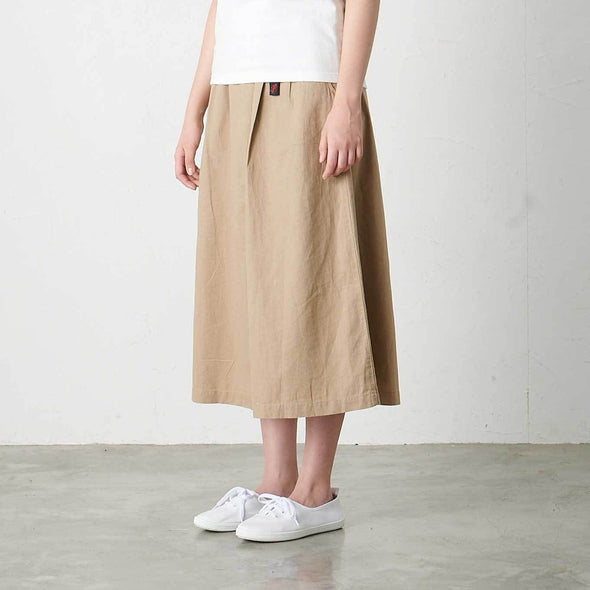 Model wearing Gramicci Linen Cotton Long Flare Skirt Side View