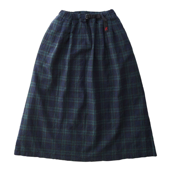 Gramicci Linen Cotton Long Flare Skirt (Black Watch Check)