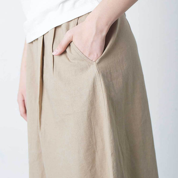 Gramicci Linen Cotton Long Flare Skirt Side Pocket Detail