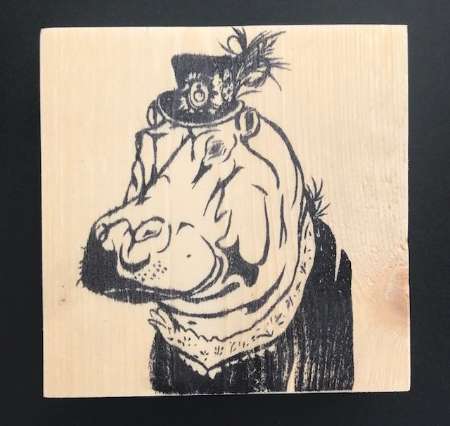 Reclaimed Wood Rubber Stamp - Clementine the Hippo