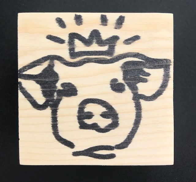 Reclaimed Wood Rubber Stamp - Princess Pig