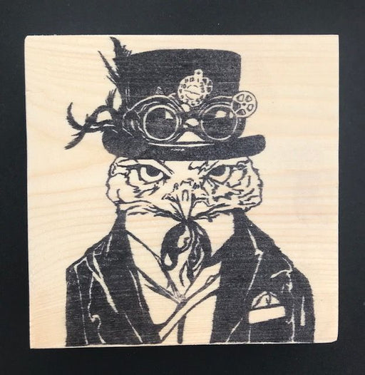 Reclaimed Wood Rubber Stamp - Artemus the Owl