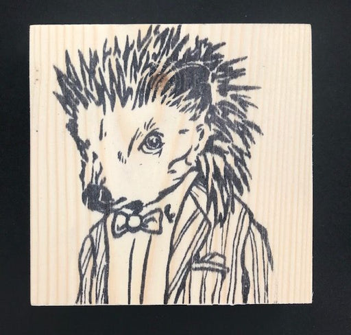 Reclaimed Wood Rubber Stamp - Bartholomew the Hedgehog