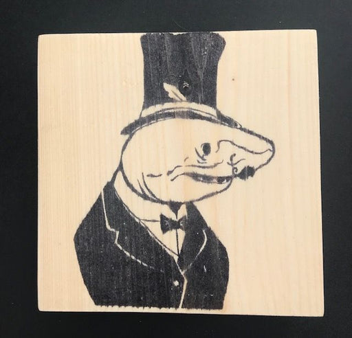 Reclaimed Wood Rubber Stamp - Phineas the Shark