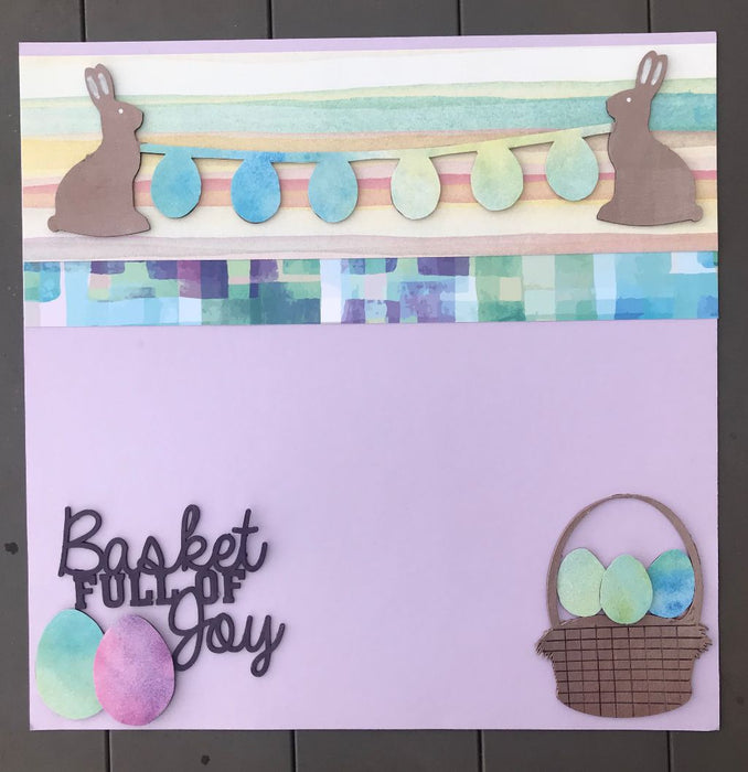 Easter Mixed Media Scrapbook Layout Kit with Chipboard Elements